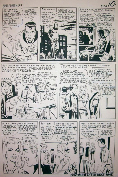 Amazing Spider-Man #31 inks & first appearances of Harry and Gwen. Steve Ditko.