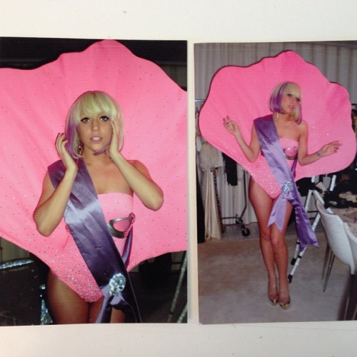 "ladyxgaga:  Jeremy Scott posted this pic from the ""Paparazzi"" video shoot on his Instagram.  itsjeremyscott: LADY GAGA IN MY SEA SHELL BATHING SUIT FOR A FITTING #PAPA #PAPA #PAPARAZZI #TBT"