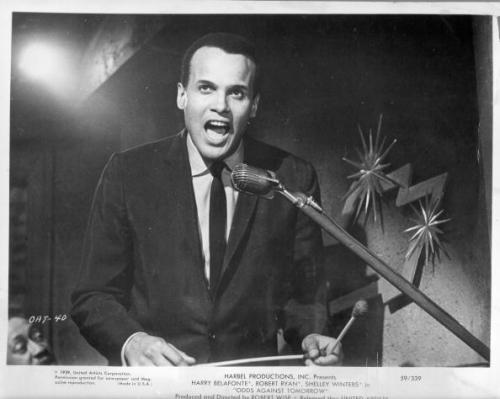 Harry Belafonte appears in a publicity photo for the movie 'Odds Against Tomorrow' which was produced by his company, Harbel Productions, Inc. in 1959. Carmen de Lavallade, Cicely Tyson, Shelley Winters, Robert Ryan and Robert Earl Jones (father of James Earl Jones) also appeared in the film. In the comments, I have included a clip from the film = the most fascinating 9 minutes you'll spend today. Photo by Michael Ochs Archives/Getty Images.