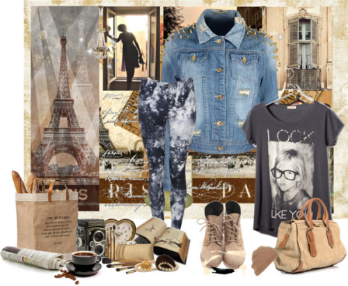 "I Wish I Wish by agilm featuring denim jean jacketsPull&Bear , $16 / Denim jean jacket, $65 / Black pants, $21 / Bootie boots / Burberry bowling bag / Topshop knit hat / Apolis Activism Market Bag – Commerce with a Conscience / Beauty product / JOHN DERIAN COMPANY, INC. Decorative Paris Plate / Wilco Imports Metal Wall Plaque, Main Street Paris / Vintage sidewalk cafe table chairs boho home grunge kitchen art home… / BrandAlley.co.uk - Clocks / Vintage Rolleiflex TLR Camera With Tessar F/3.5 Lens / 25 % OFF French Window, Provence Photograph, Spring, Pastel, Travel… / Parigi, $25 / Paris Postmark , Eiffel Tower 11""x 14"""