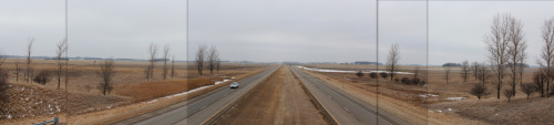 Feb. 9, 2013 I-90 exit 128 overpass, looking west, near Blue Earth, Minn.