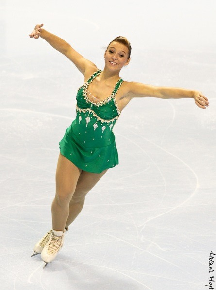 A rare green dress. Alexandra Gagnon's short program costume at the 2011 Junior Canadian Nationals.