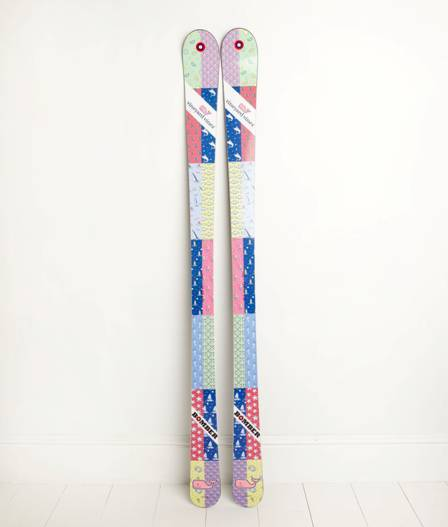 Preppy patchwork skis from Vineyard Vines and Bomber.