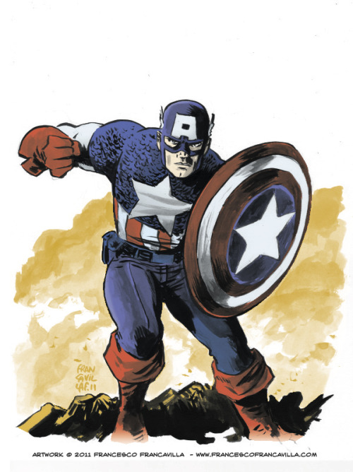 Captain America sketch by Francesco Francavilla. Another sketch I colored while freaking about about C2E2. Many thanks to Francesco for letting me color and post this on my blog.