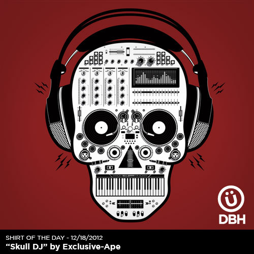 """Skull DJ"" On Sale $15 @ http://bit.ly/ShirtOfTheDay"