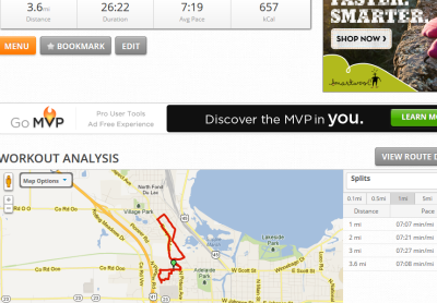 Really wasn't feeling today's run, but somehow had my fastest pace yet. Which is surprising since I considered shutting it down at 2 miles because I felt like crap. I blame donating.