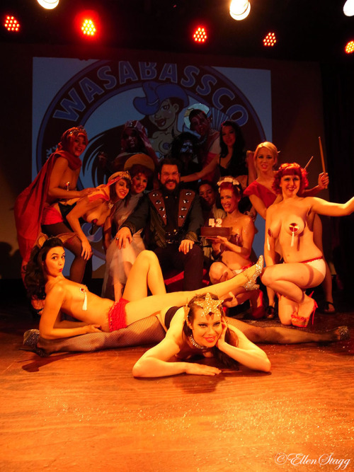 At the end of @Wasabassco birthday show with all the sexy performers on stage with @DocWasabassco in the middle.