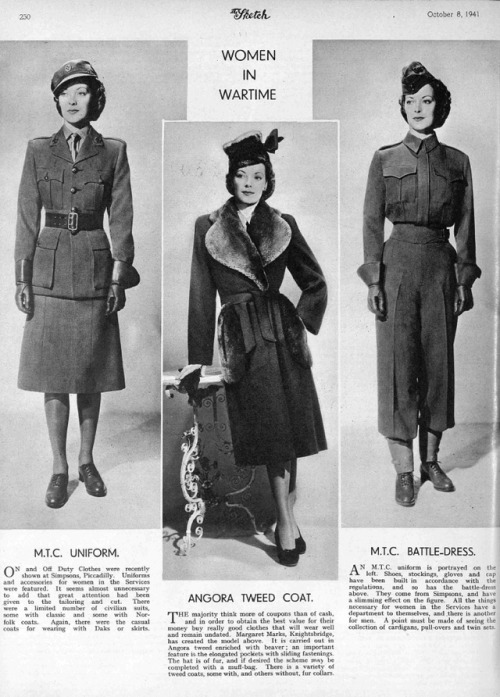 world war II u.k. home front Mechanised Transport Corps MTC mondays uniforms The Sketch