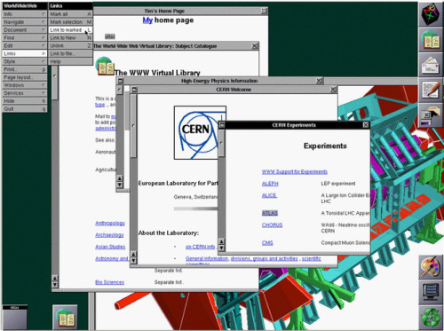 science-junkie:  Twenty Years Ago Today the World Wide Web Went Public Twenty years ago today, something happened that changed the digital world forever: CERN published a statement that made the technology behind the World Wide Web available to use, by anybody, on a royalty free basis. That decision, pushed forward by Sir Tim Berners-Lee, transformed the internet, making it a place where we can all freely share anything and everything—from social media updates, through streamed music, to YouTube videos of cats. It has fundamentally shaped the way we communicate. To celebrate the momentous occasion of 20 years ago, CERN—the same guys behind all those experiments at the Large Hadron Collider—has republished its very first website at its original URL. It's not much to look at—but it's a fine reminder of just how much the web has changed in the past twenty years. In fact, the republishing of that site is part of a broader project to excavate and preserve a whole host of digital gems that remain from the inception of the web. You can go read a lot more about the project over on CERN's site.