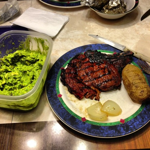 #homemade #guacamole #steak #potatoes #onion #yum