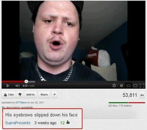 thedailywhat:   YouTube Comment of the Day: Dem Eyebrows