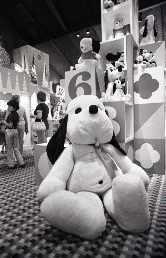 Check out this vintage photo of Pluto plushes. The shot was taken at Downtown Disney (then the Lake Buena Vista Shopping Village) in the mid-1970s.