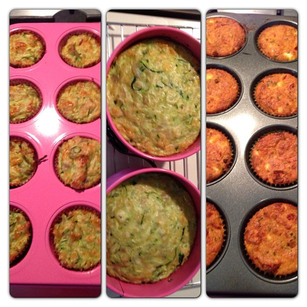 Today's baking: mini zucchini slice/frittata for quick snack on the go, larger sized zucchini slice/frittata for dinner during the week & semi sundried tomato & feta muffins again for on the go #healthy #preparation #personaltrainer #yummy