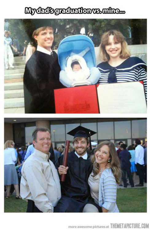 srsfunny:  My dad's graduation vs. mine…http://srsfunny.tumblr.com/