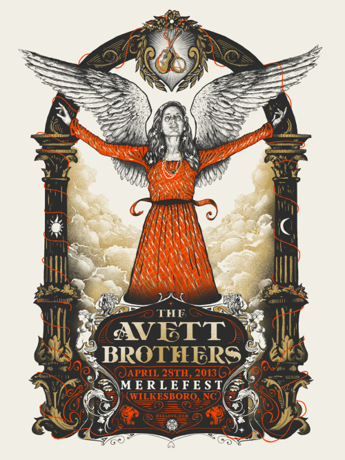 I did this poster for The Avett Brothers a few weeks back. They were all hand screenprinted here in Pittsburgh.