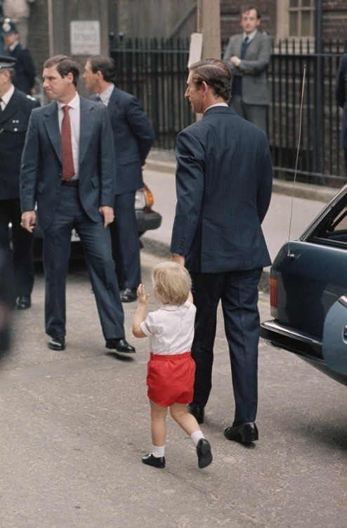 September 1984- Prince Charles taking Prince William to go see his new baby brother Harry.