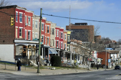 freezetimebmore:  Poplar Grove & north Ave. This part of north avenue feels like a ghost town to me now .   MTA Maryland Route 13/EB/Fells Point; CantonMTA Maryland Route 91/SB/City HallCoppin State University (pictured in background)|reblog| #vftbs
