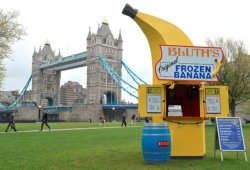 "Arrested Development's frozen banana stand is now real; there's always money in it… ""In an effort to get you even more excited than Buster after drinking a whole jug of ""juice"" for the new batch of Arrested Development episodes dropping May 26, Netflix has opened up an exact replica of the show's frozen banana stand in London. It'll be popping up around the city for the next two weeks before it moves to New York and L.A., allowing millions to gorge on chocolate-dipped 'nanas while hitting on their cousins"". Via Thrillist"