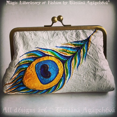#bag #clutch #purse #art #painting #mixmedia #peacock #feather #ivory #wedding #bride #tianache #etsy #eye #clearance #sale #discount #gold #tiffany
