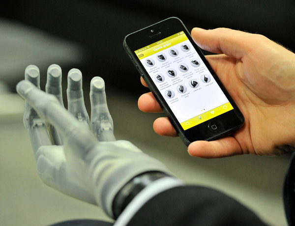"Bionic App via NewScientist: The powered thumb is controlled by signals from the user's arm muscles or - in a first for upper limb prostheses - via a smartphone app: a tap of the screen and the hand automatically arranges itself into a preset grip. The thumb can move into 24 different positions and new, extra-sensitive fingertip electrodes also give improved dexterity. ""Powered thumb rotation, combined with the mobile app and quick access to all these new grips, gives me natural hand function that I never imagined would be possible,"" says Bertolt Meyer, who wears one of the new hands. The app makes it easy to configure presets by group, such as ""work"", which includes positions ready for typing, handling documents or using a mouse. The app also includes diagnostic tools and training modes for new users. [read more] [touch bionics] [Image: Murdoch Ferguson/Ferguson Imaging] via futurescope, wildcat2030"