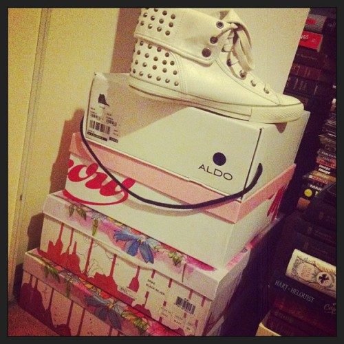 Day 15 of #januarychallenge : shoes. My stack of jeffrey campbell's and aldo shoes that i like to keep in their boxes #jeffreycampbell #aldo #spiked #kicks #shoes
