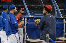 Jose Bautista and Indians catcher Carlos Santana chat before last night's game.  #LoveThisTeam