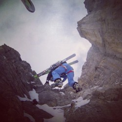 Dav doing Dav stuff on the #Eiger wearing his White Spyder gear. #Regram from @steepskiing