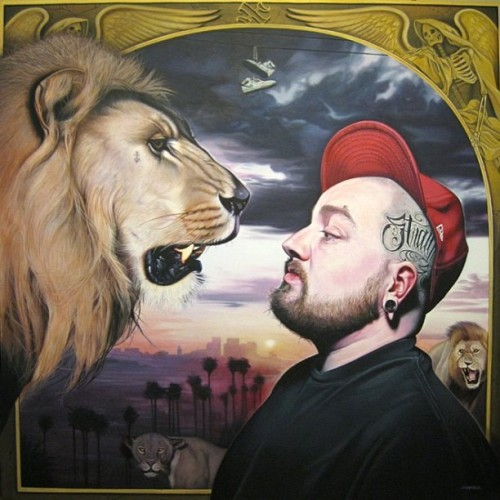 "chasetafoya:  Throwback Thursday. ""In the Midst of Lions"" 60""x60"" Acrylic on Canvas. This piece is based on the story of Daniel in the lion's den. #art #artist #painting #acrylic #acrylic #acrylicpainting #ig #ink #lion #tattoo #chasetafoya #nofilter #xxx #straightedge #angel #death #skull #anchor #clouds #la #cool #pma"
