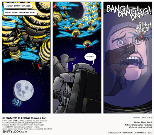 "ryannorth:  If you've been waiting to read the Galaga comic (YES) that Chris ""The Adventures of Dr. McNinja"" and Anthony ""Nedroid"" Clark have been doing, then that wait should end NOW, because the complete first season just went online!  Start by clicking on the picture and keep hitting next and I promise some FUN TIMES. also there are teens"