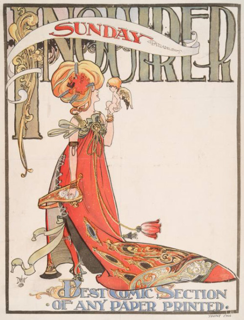 fuckyeahvintageillustration:  Poster design for the 'Sunday Inquirer' (1893-1924) by William Addison Dwiggins. Source