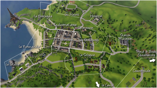 Sandy Valley map I've been renovating Sunset Valley since the summer 2009 (and it's been renamed to Sandy Valley by a friend of mine, because it was getting too different of Sunset Valley). The town is divided in several districts, with a different french architectural style. Except La Falaise/the Cliff, with modern houses. On this picture, you can't see the Canal District, though. Will have to post a picture later. :p I have a day off and might be in a spam mood. ;D