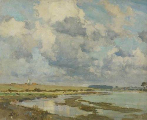 Bertram Priestman's Clouds Over The Orwell (via BBC - Your Paintings)