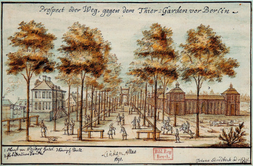 """Lindenallee"" (1691), a water-colour by Johann Stridbeck (der Jüngere)."