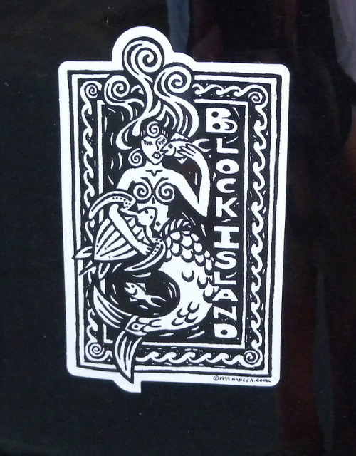 """ Block Island Mermaid ""  ….  Sticker by Artist: Nancy A Cook (c) 1999"