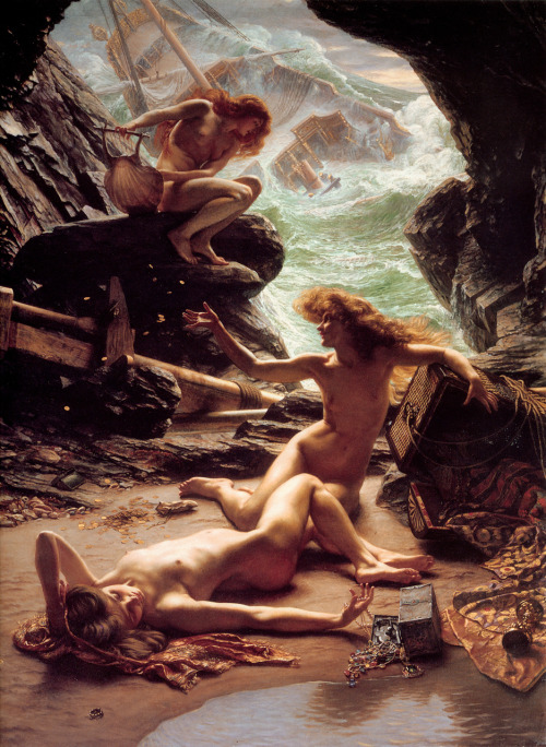 """The Cave of the Storm Nymphs"" by Edward Poynter shows the dark side of sea Nymphs while maintaining a picturesque style."
