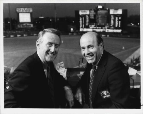 Scully & Garagiola, 1986 Shea Stadium NBC publicity photo via lexibell-store