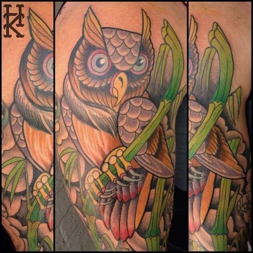 Owl top of sleeve in progress #owltattoo #owl #tattoo #hootyhoo (at HONKEYKONG.COM)