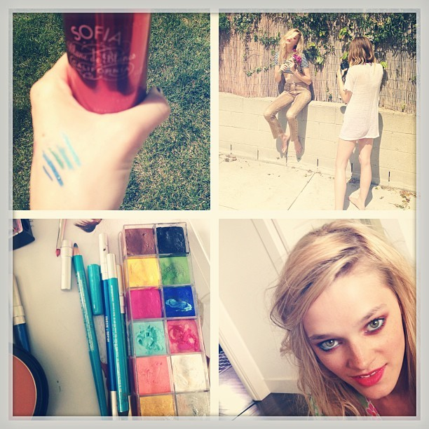 PhotoShoot. Sun.Balloons.Champagne.BlueEyeliner @LonelyDot @Wedreamoficecream