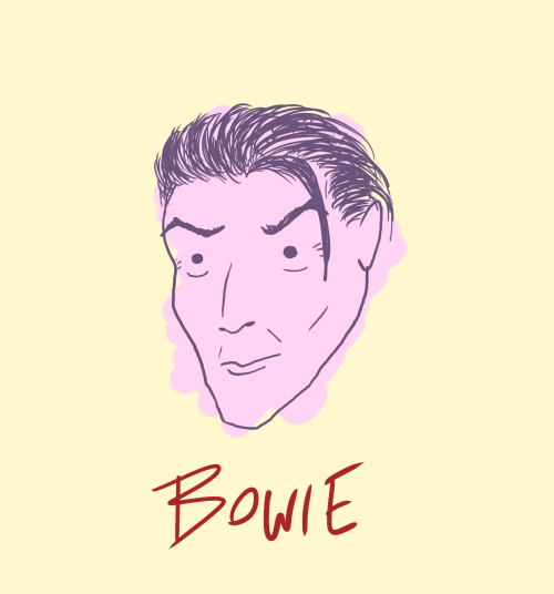 I'm gonna start trying to do warm up drawings. I took a shot at Bowie, though admittedly he looks like a bit of a hip skinny Dracula. Anyway, Where are we now?