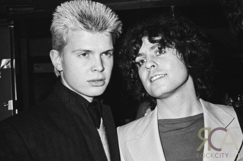 toomuchjunkiebuisness:  Billy Idol and Marc Bolan at the Dandy In The Underworld release party.