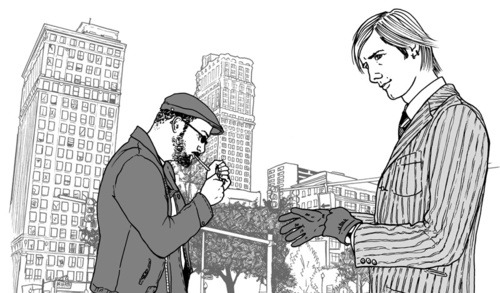 Shannon Gerrard draws Detroit in a panel from Sword of My Mouth, her collaboration with writer Jim Munroe. Jim's also a Gutter co-founding editor and Sword of My Mouth is one of the perks we're offering as part of our Gutter-A-Go-Go fundraiser to keep the Cultural Gutter online. (even fuller disclosure, Carol was an editor on this book)