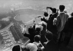 Looking down on Forbes Field from the Cathedral of Learning.