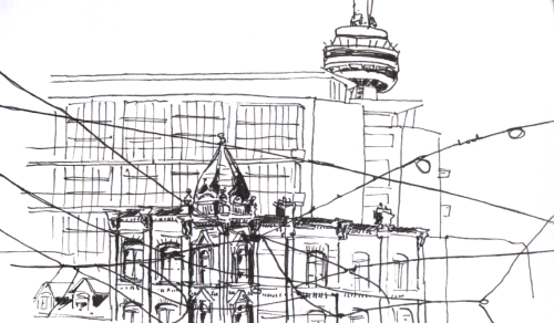Prompt: cityscape. Quick sketch of the intersection of Queen St. and Spadina Ave.