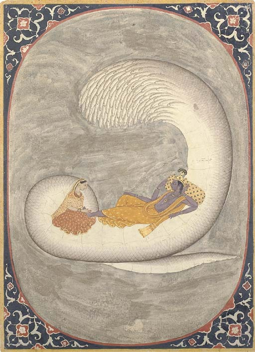 Vishnu reclining on the serpent Ananta Shesha. Via Wikipedia