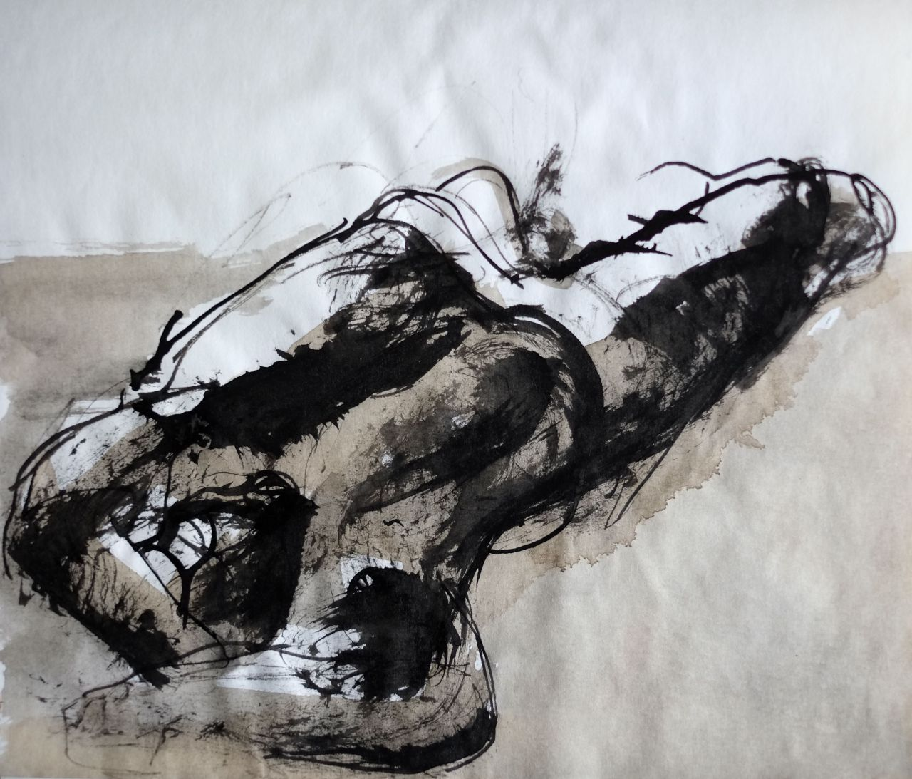 edouard2p:  Nude (ink and coffee, 2011) by E de' Pazzi