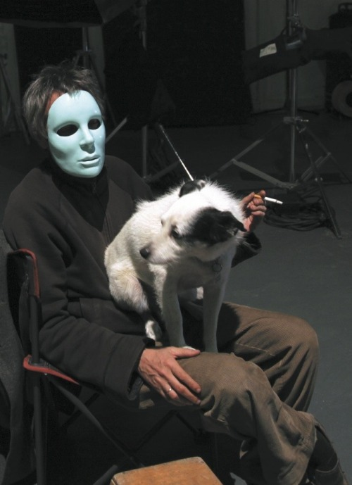 hubertmarsten:  Léos Carax on set during the filming of Holy Motors (2012).