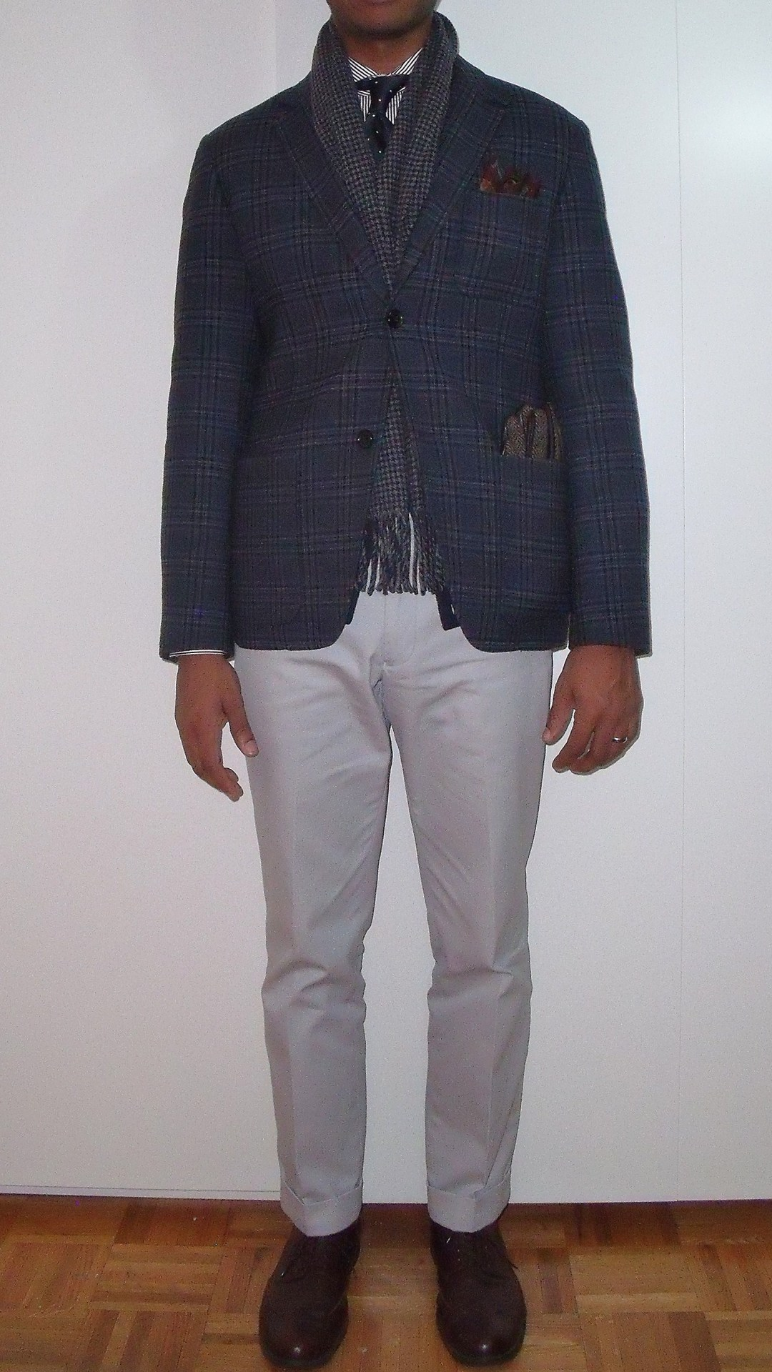 acutestyle:  WIWT: 12.18.12 Acute Style Wears All the Patterns to MT^2 Black Watch hat.  Houndstooth scarf.  Plaid Jacket.  Paisley pocket square.  Polka dot tie.  Bengal stripe shirt.  Household division watch strap.  Regimental stripe socks.  Herringbone gloves.  I attended a conference tonight called Mathematics Teachers on Teaching.  I'm super inspired.  There is always so much more to do and learn.