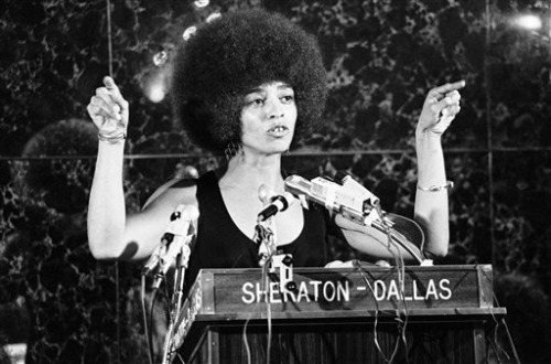 specialnights:  Angela Davis addresses members of the Southern Christian Leadership Conference at their annual banquet held in Dallas, Aug. 17, 1972. Miss Davis, who was guest speaker at the 15th annual convention, spoke on the abolishment of the prison systems.