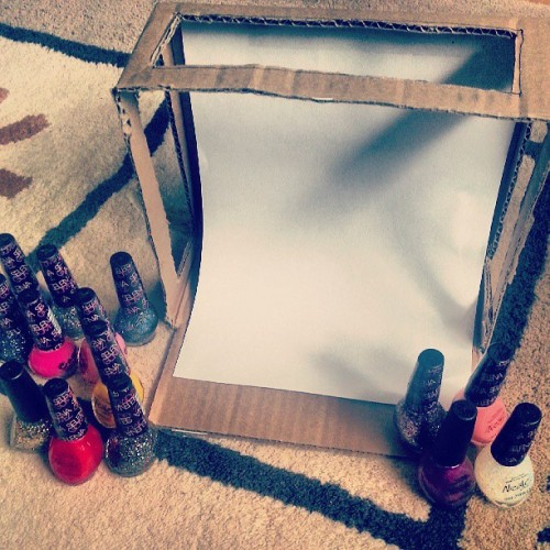 DIY Light Box is under way! Can't wait to finish it and swatch the Selena Gomez Collection ♡ (post will be up as soon as my new website design is complete!)