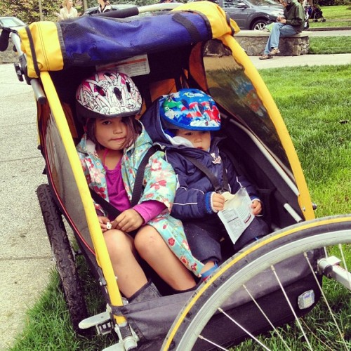 First bike trailer ride of the season (at Volunteer Park Playground)